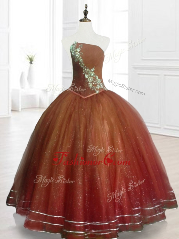 Popular Brown Ball Gown Strapless Quinceanera Dresses with BeadingSWQD075-3FOR