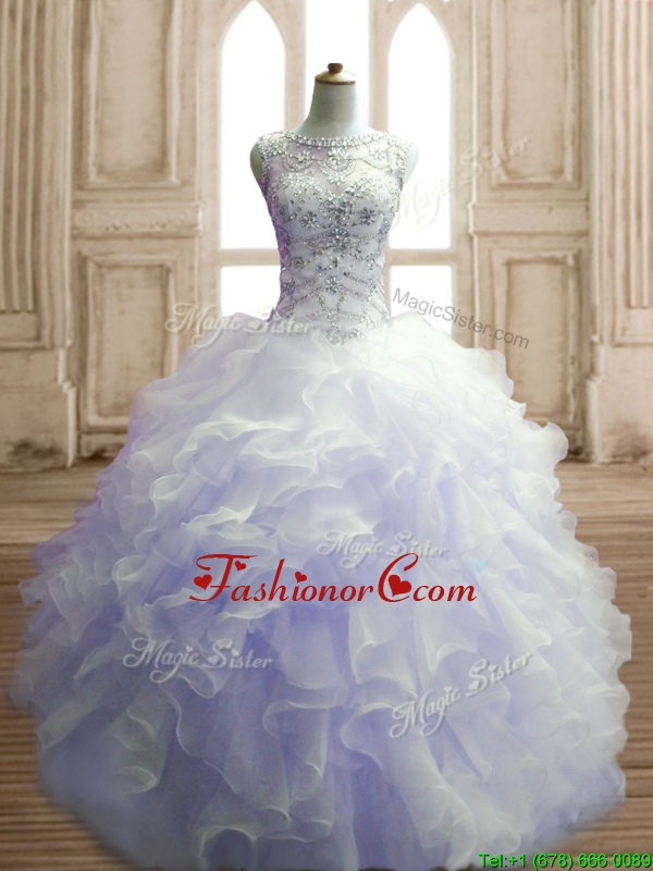 See Through Scoop Lavender Sweet 16 Dress with Beading and Ruffles SWQD141-4FOR