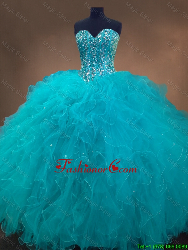Elegant Beaded and Ruffles Quinceanera Gowns in Aqua Blue SWQD050FOR