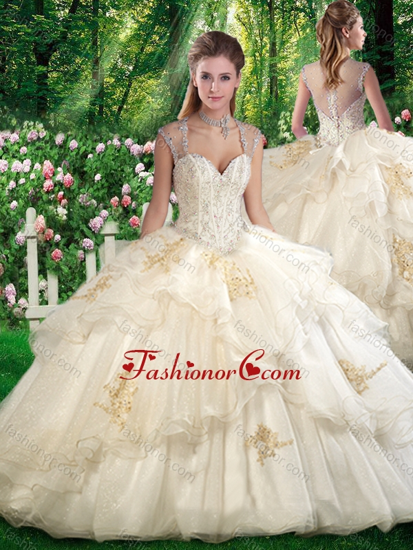2016 Romantic Ball Gown Sweet 16 Dresses with Beading and Appliques SJQDDT281002FOR