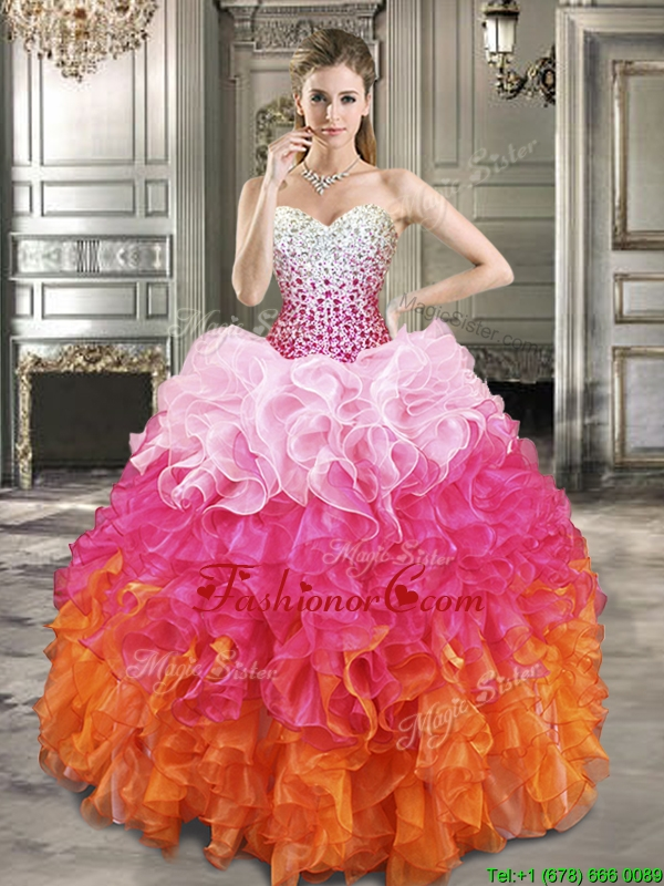 Fashionable Beaded Bodice and Ruffled Quinceanera Dress in Gradient Color YYPJ014FOR