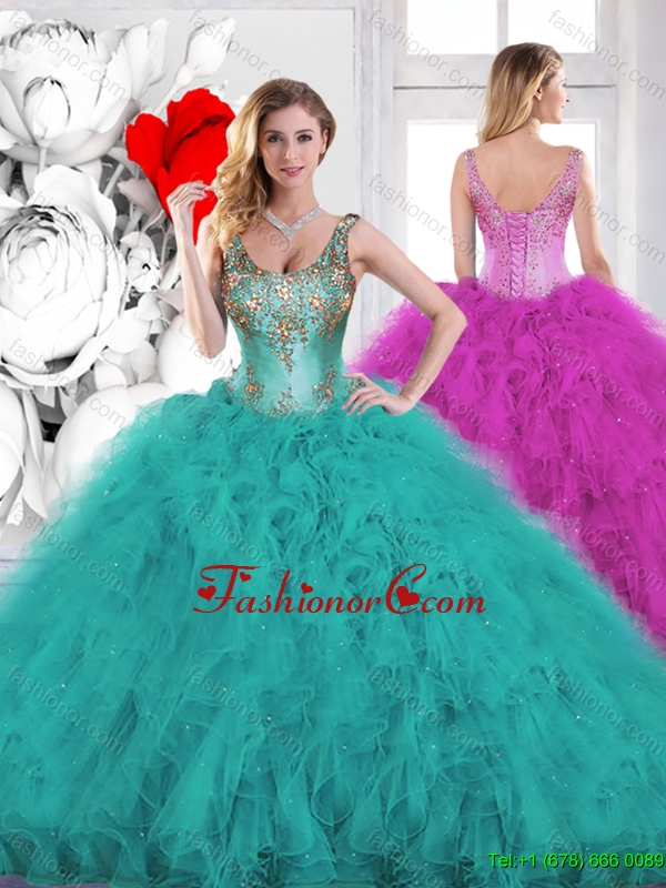 Gorgeous Beading Scoop Teal Quinceanera Dresses with Ruffles SJQDDT134002FOR