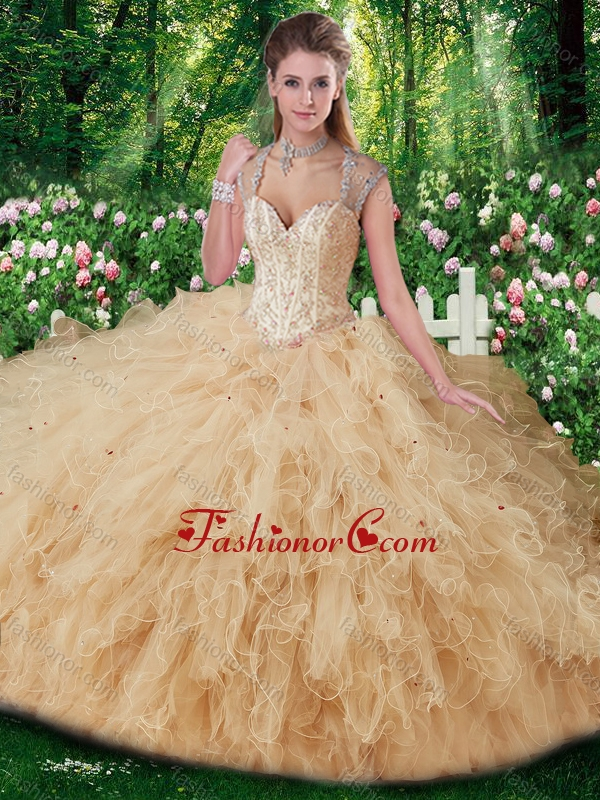 Gorgeous Straps Beading Sweet 16 Gowns in Champange SJQDDT269002FOR