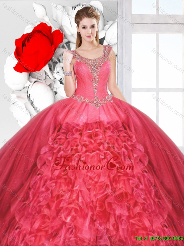 Inexpensive Scoop Quinceanera Dresses with Beading and Ruffles SJQDDT130002-1FOR