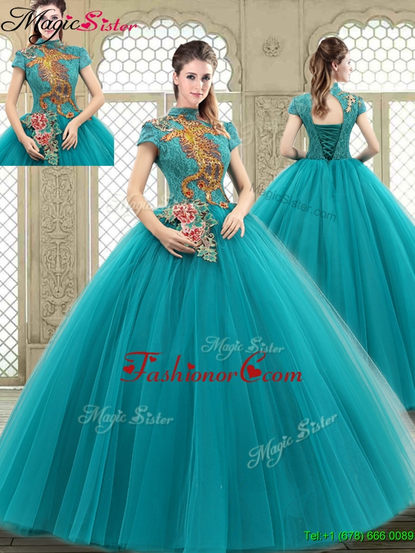 Luxurious High Neck Appliques Sweet 16 Dresses with Short Sleeves YCQD018FOR
