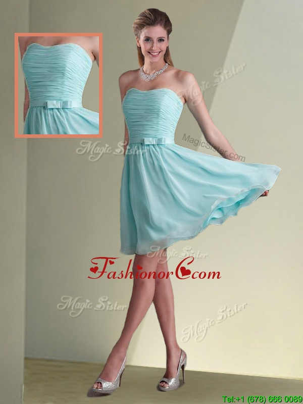 Beautiful Strapless Chiffon Short Dama Dress with Belt and Ruching BMT086DFOR