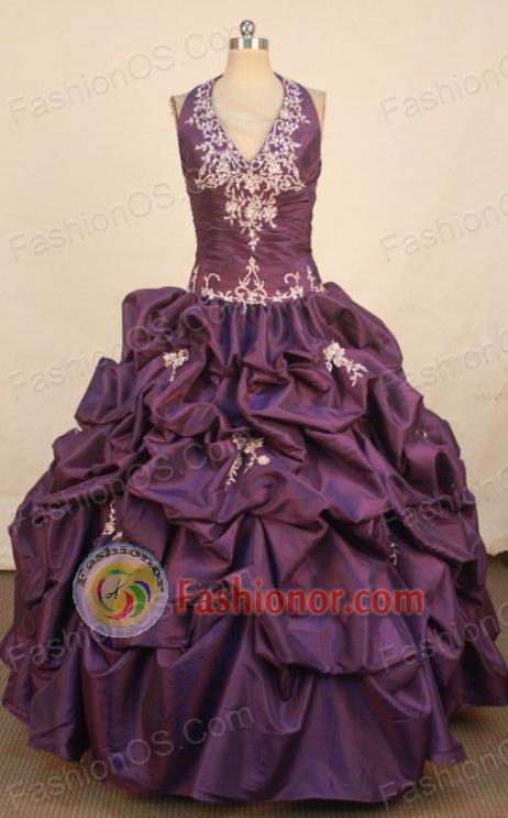 Best Ball Gown Halter Top Floor-length Dark Purple Taffeta ...