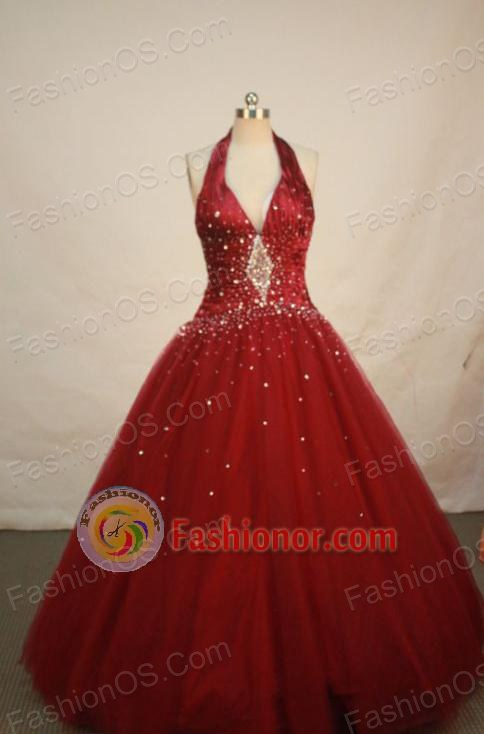 Elegant Ball gown Halter top neck Floor-length Quinceanera Dresses Style FA-W-019