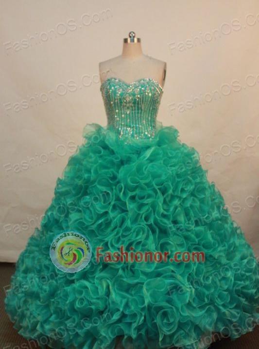 The super hot ball gown sweetheart-neck floor-length organza Green ...