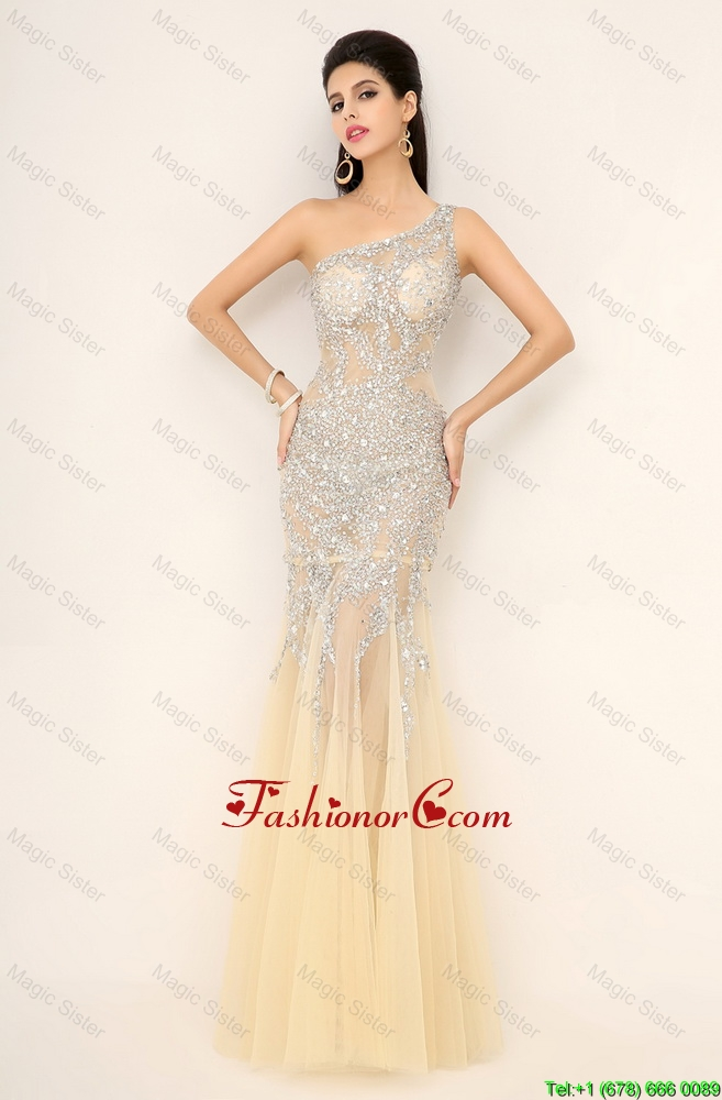 Elegant Champagne One Shoulder Prom Dresses with Side Zipper DBEE067FOR