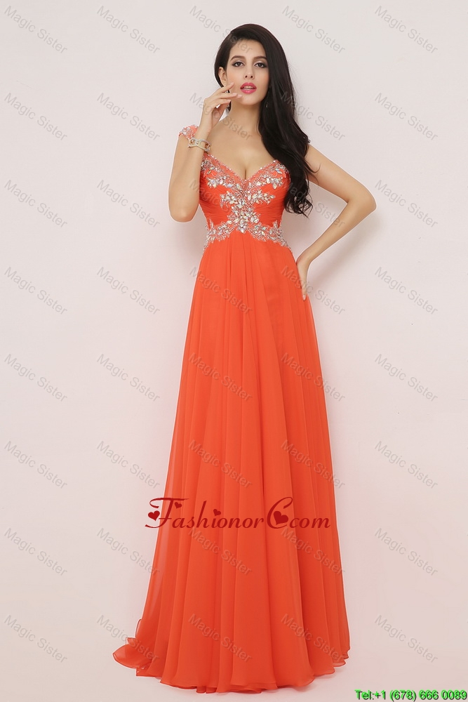 New Arrivals Brush Train Prom Dresses with High Slit and Beading DBEE073FOR