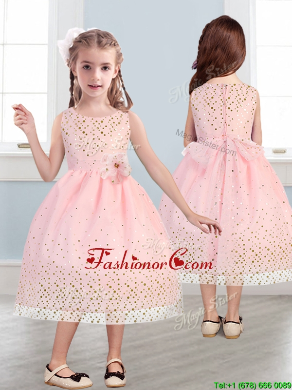 Beautiful Scoop Little Girl Pageant Dress with Hand Made Flowers and Sequins THLG049FOR