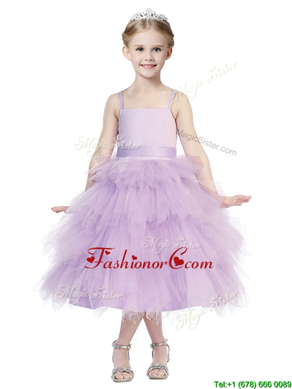 Beautiful Spaghetti Straps Lavender Little Girl Pageant Dress with Beading and Ruffled Layers THLG037FOR