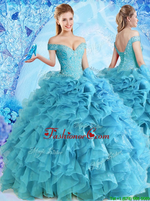 Elegant Beaded and Ruffled Quinceanera Dress in Baby Blue CDLAPJ001FOR