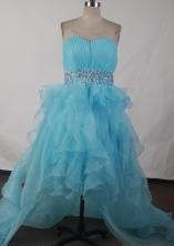 Affordable A-line Sweetheart High-low Knee-length Aqua Prom Dress LHJ42802