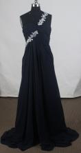 Affordable Empire One Shoulder Brush Black Prom Dress LHJ428