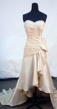Affordable High-low Sweetheart-neck Brush Champagne Beading Prom Dresses Style FA-C-186