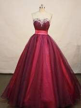Beautiful A-line Sweetheart Floor-length Organza Wine Red Prom Dresses Appliques Style FA-Z-00168