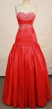 Beautiful A-line Sweetheart Floor-length Taffeta Red Prom Dresses Beading Style FA-Z-00142