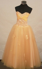 Beautiful A-line Sweetheart Floor-length Tulle Yellow Prom Dresses Appliques Style FA-Z-00157