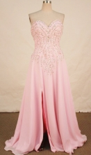 Beautiful A-line Sweetheart-neck Floor-length Pink Beading Prom Dresses Style FA-C-153