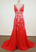 Beautiful A-line V-neck Floor-length Red Beading Prom Dresses Style FA-C-180