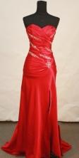 Beautiful Column Sweetheart Brush Red Prom Dresses Beading Style FA-Z-00150