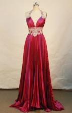 Beautiful Empire Halter Top Brush Red Prom Dresses Ruffle Beading Style FA-Z-00144