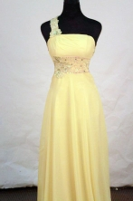Beautiful Empire One-shoulder neck Floor-length Chiffon Yellow Appliques With Beading Prom Dresses Style FA-C-197