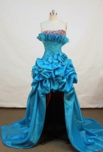 Beautiful High-low Strapless High-low Taffeta Teal Prom Dresses Beading Style FA-Z-00163