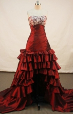 Beautiful High-low Sweetheart High-low Wine Red Prom Dresses Appliques with Beading Style FA-Z-00167
