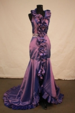 Beautiful Mermaid Halter Top neck Brush Purple Beading Prom Dresses Style FA-C-143