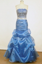 Beautiful Mermaid Strapless Floor-length Royal Blue Beading Prom Dresses Style FA-C-167