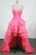 Brand New High-low Sweetheart-neck Floor-length Organza Red Beading Prom Dresses Style FA-C-190