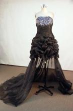 Brand new Short Strapless Mini-length Brown Beading Prom Dresses Style FA-C-172