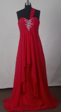 Cheap Empire One Shoulder Floor-length Red Prom Dress LHJ42822
