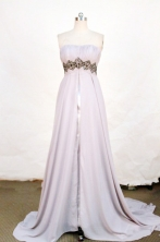 Classical A-line Strapless Brush Chiffon Gray Beading Prom Dresses Style FA-C-209