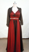 Classical A-line V-neck Floor-length Red Beading Prom Dresses Style FA-C-224