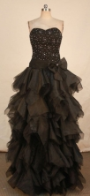 Elegant A-line Sweetheart-neck Floor-length Black Beading Prom Dresses Style FA-C-142
