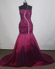 Elegant Mermaid One Shoulder Brush Burgundy Prom Dress LHJ42876