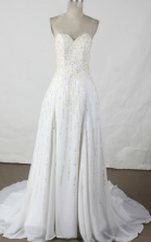 Elegant empire sweetheart-neck brush chiffon beading white prom dresses FA-X-110