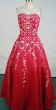 Exquisite A-line sweetheart-neck floor-length red embroidery with beading prom dresses FA-X-122