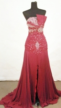 Fashionable A-line Strapless Floor-length Burgundy Beading Prom Dresses Style FA-C-147