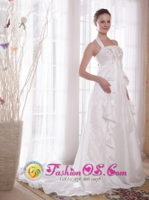 Glittering White Princess Halter Brush Ttrain  Rhinestones Summer Dama Dress In El Alto Bolivia Wholesale Style PDATS101FOR