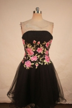 Gorgeous A-line Strapless Mini-length Organza Black Appliques Prom Dresses Style FA-C-202