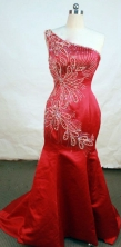Gorgeous Mermaid One-shoulder Neck Floor-length Red Beading Prom Dresses Style FA-C-218