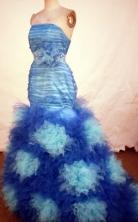 Gorgeous Mermaid Strapless Floor-length Blue Beading Prom Dresses Style FA-C-238