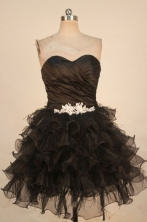 Lovely A-line Sweetheart-neck Mini-length Organza Black Appliques Prom Dresses Style FA-C-237