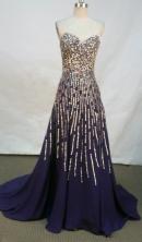 Luxurious empire sweetheart-neck beading purple prom dresses FA-X-128