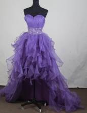 Popular A-line Sweetheart Knee-length High-low Prom Dresses WlX426129